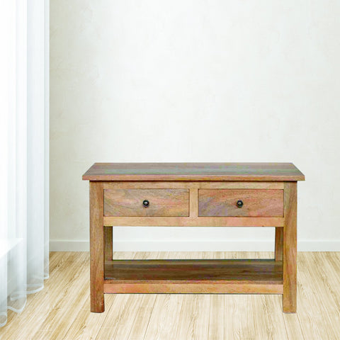 4 Drawer Solid Wood Coffee Table With Shelf