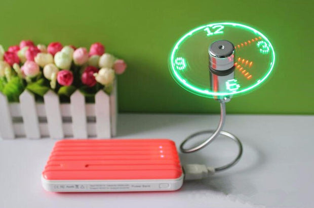 Mini Flexible LED Clock USB Fan