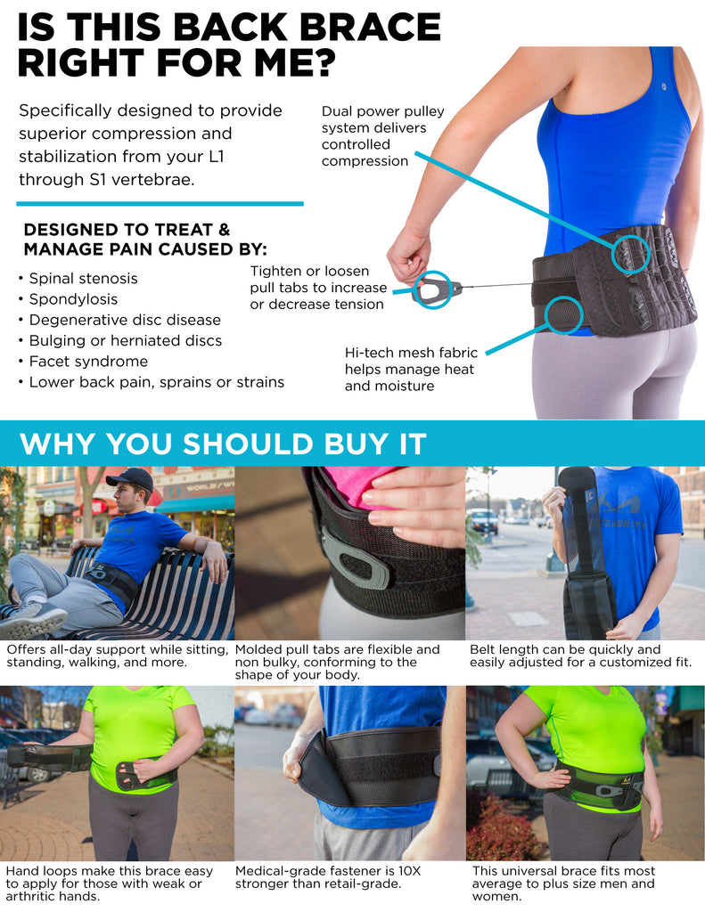 Adjustable Lower Back & Spine Pain Corset Brace for Lumbar