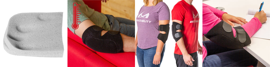 our bursitis elbow pad features warming neoprene and thick padding to prevent bursa sac pain