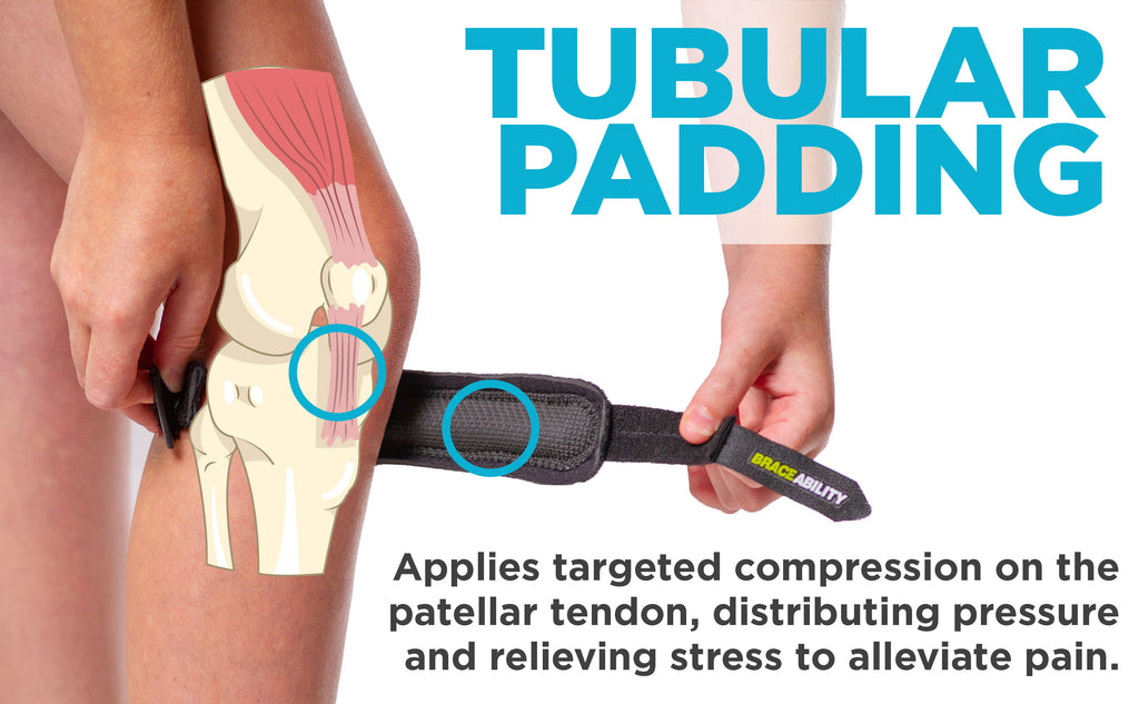 tubular padding on the patella strap applies compression to the patellar tendon