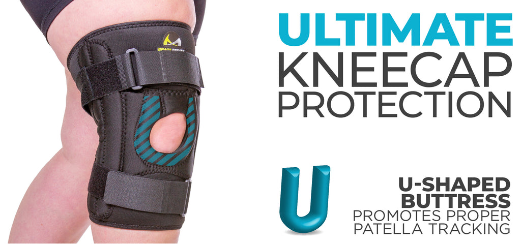 the u-shaped buttress supports the kneecap to help reduct knee pain while exercising