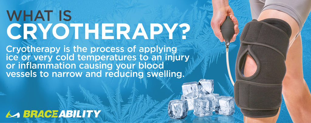 cryotherapy in your knee is when you apply ice or a very cold gel pack to an inflamed or injured patella to reduce swelling and pain