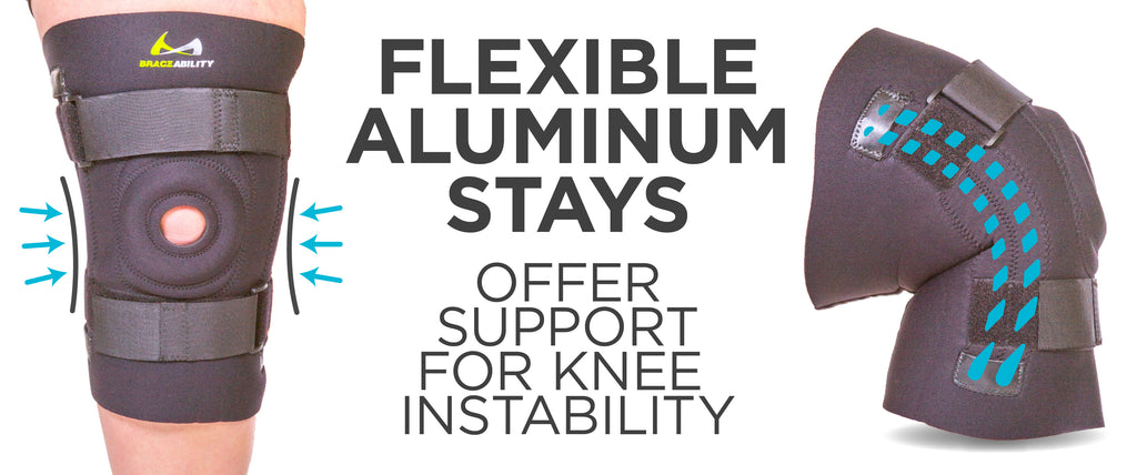 flexible aluminum stays offer support for knee instability
