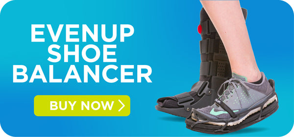 evenup shoe balancer for BraceAbility walking boot