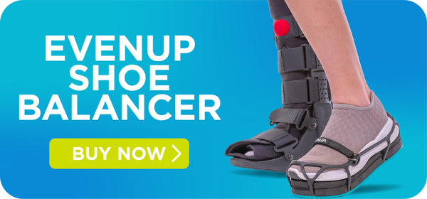 evenup shoe balancer for post-op broken foot and toe fracture medical walking shoe
