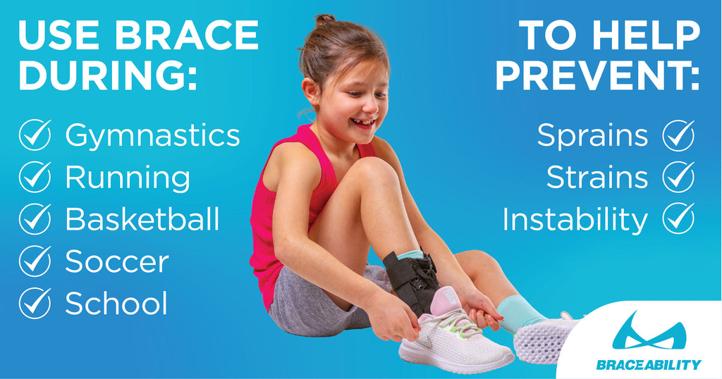 the pediatric ankle brace is great during gymnastics to prevent sprains and strains