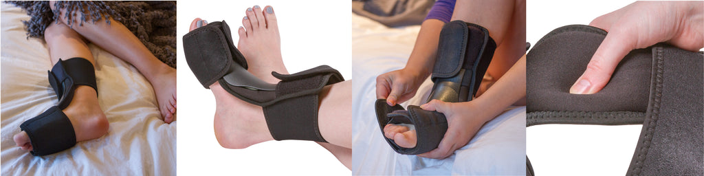 our dorsal night splint has an open heel design that makes it comfortable in bed