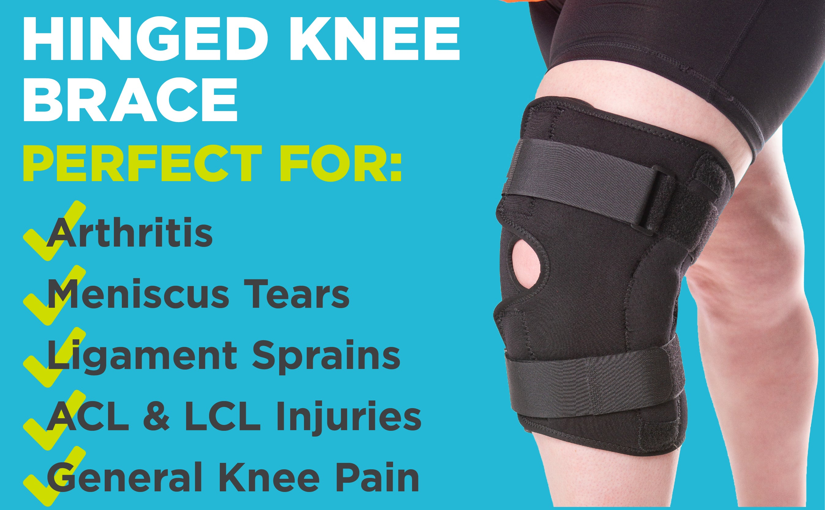 our hinged knee brace is perfect for arthritis, meniscus tears, ligament sprains, and acl and lcl injuries
