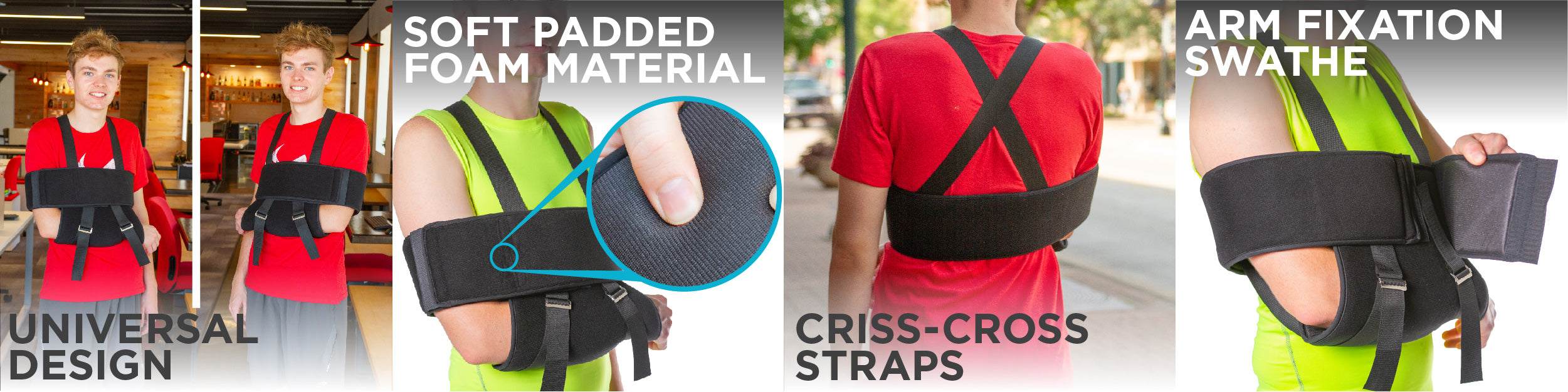 the braceability shoulder sling and swathe has features that make them great for all day support