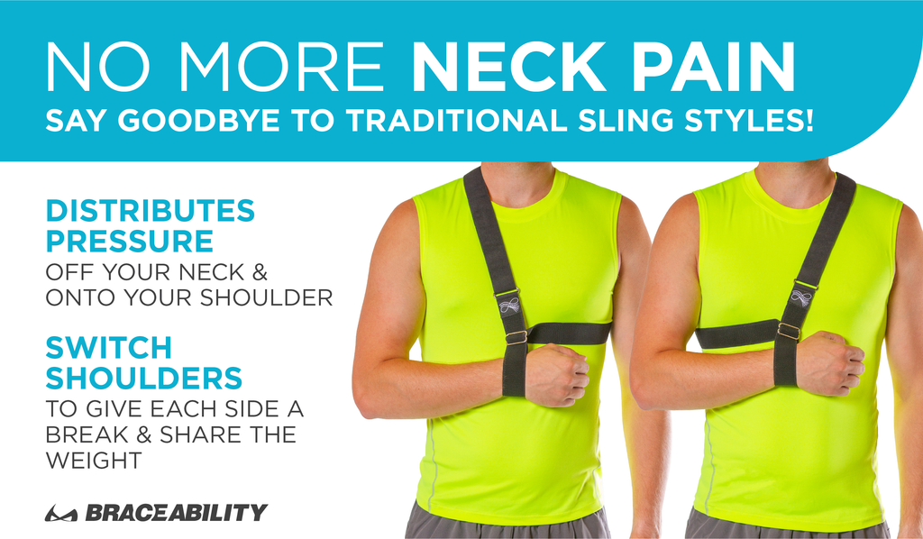our patented broken arm sling doesn't hurts neck because you can switch which shoulder you use to support the injury