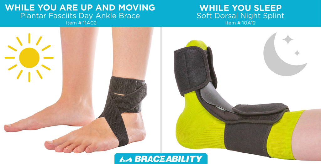 BraceAbility offers a plantar fasciitis day ankle brace and plantar fasciitis night splint while you sleep