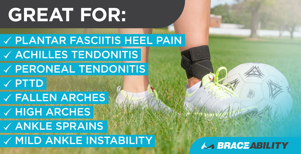 The plantar fasciitis day brace is great for achilles tendonitis, posterior tibial tendon dysfunction (PTTD), and ankle sprains