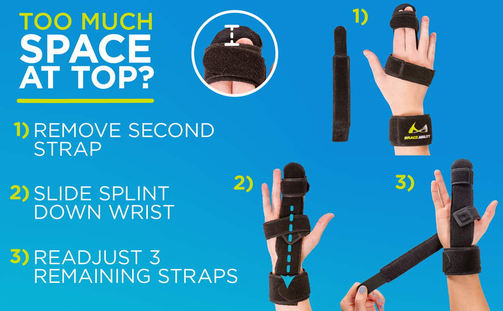 If the two finger immobilizer feels too large, simply slide the splint down your wrist and readjust the straps