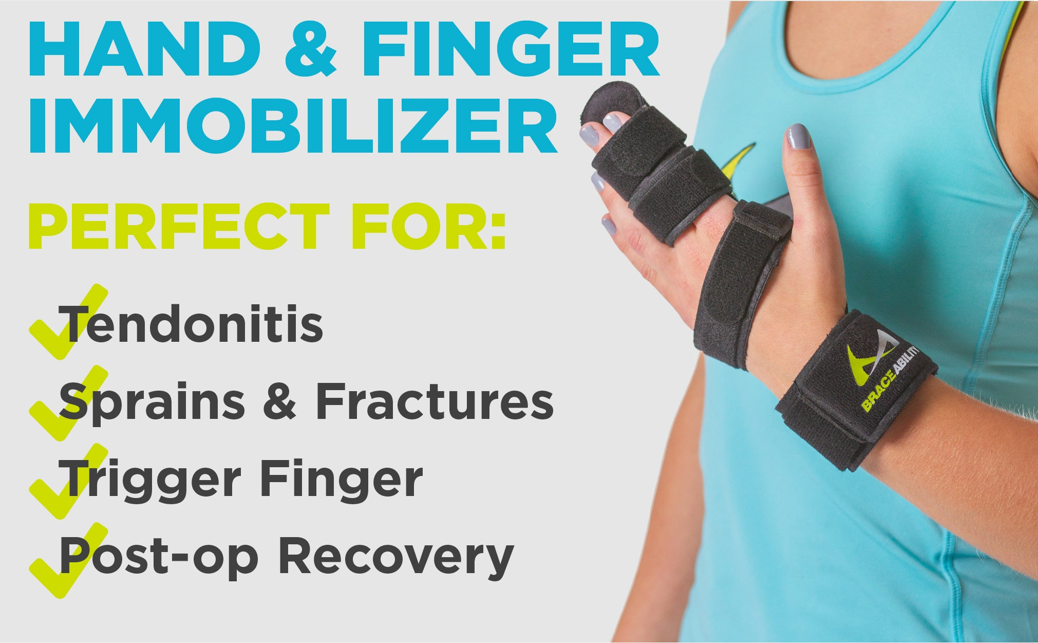 the hand and finger immobilizer treats tendonitis, sprains and fractures, and trigger finger