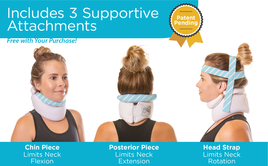 the hauser-hatto neck brace comes with three adjustable pieces for the perfect amount of support for your injury