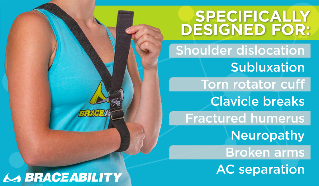 The BraceAbility Shoulder Sling was specifically designed for dislocations, subluxation, rotator cuff injuries, and collarbone injuries