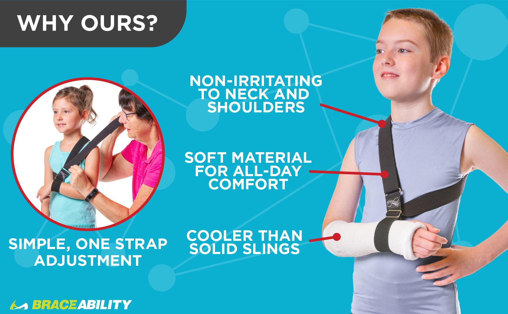 the BraceAbility kids arm sling is non-irritating to the neck and shoulders and created with soft materials
