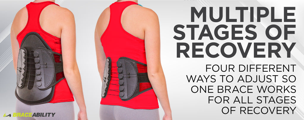 Our lumbar decompression back brace has a removable back panel allowing you to be able to wear this back brace during multiple stages of recovery