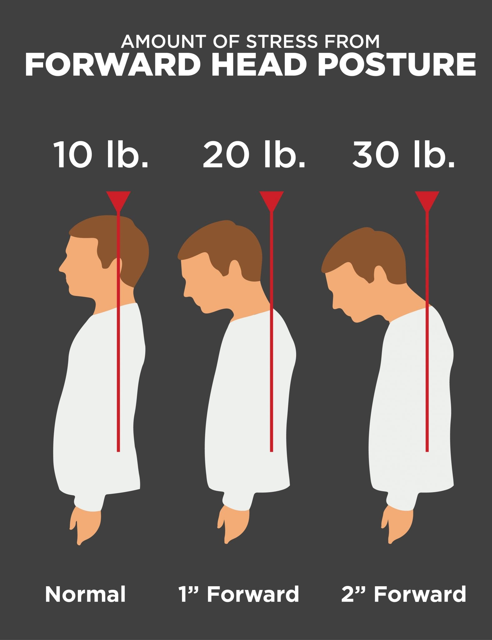 The further forward your head posture is the more stress in puts on your back