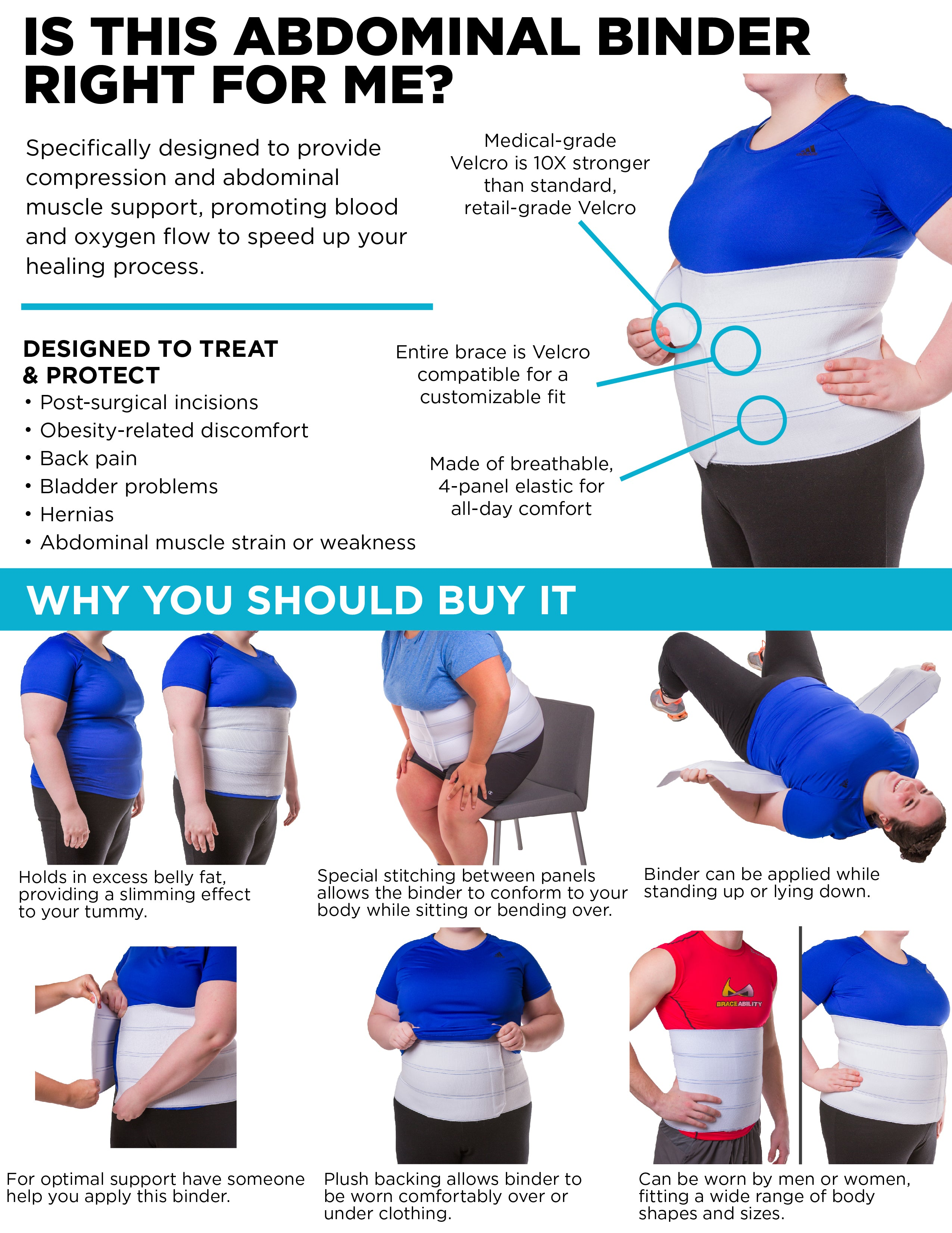 key features and benefits of this abdominal stomach compression wrap
