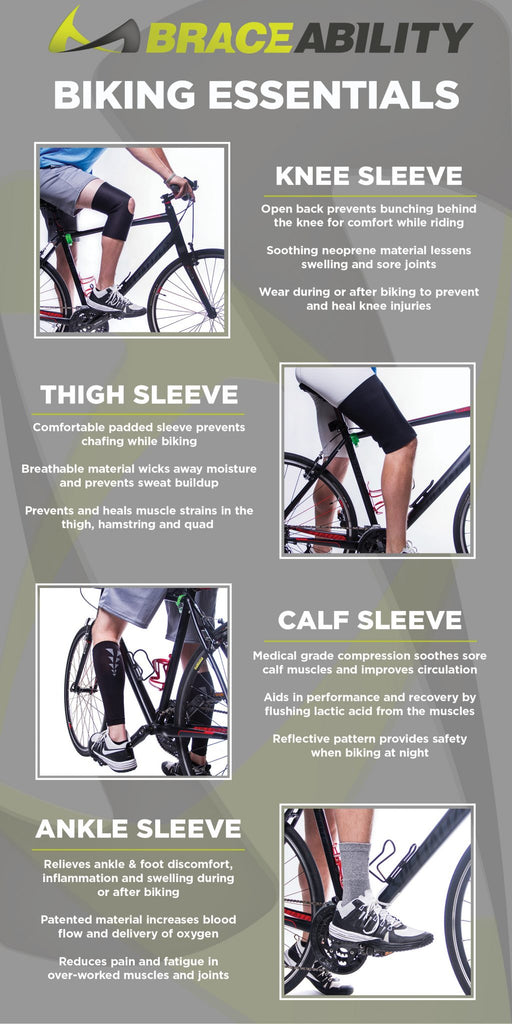 using braceability leg, thigh and calf sleeves can reduce pain while cycling