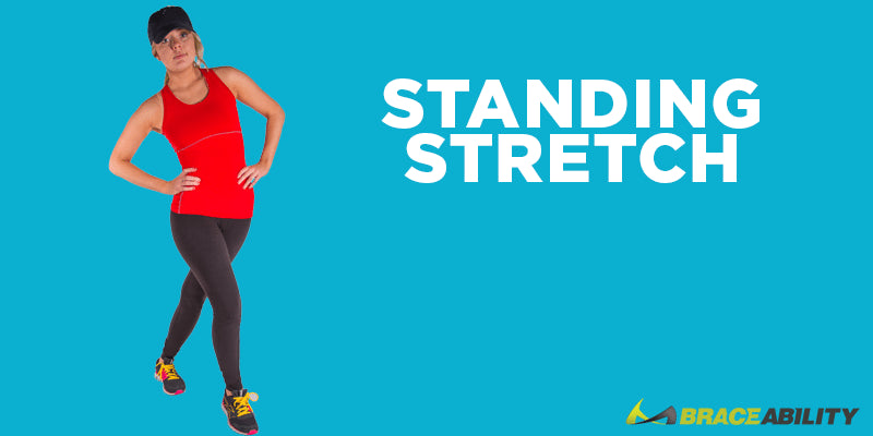 standing hip stretch to recovery from pain in your legs and IT band