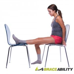 chair knee extension stretch for knee pain relief