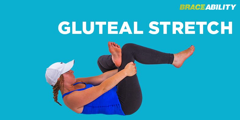 Gluteal stretch to exercise the lower back where spondylolisthesis is present