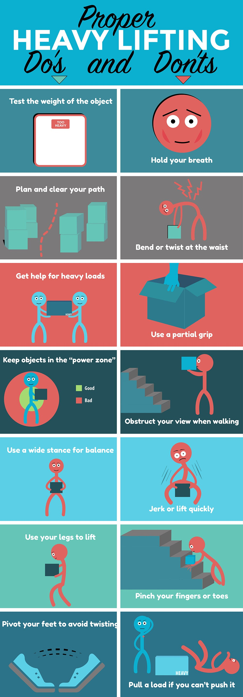 funny infographic on how to properly lift heavy objects