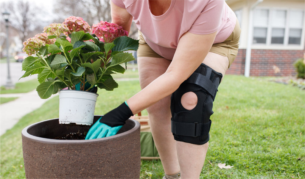 using a knee pain brace while in the garden helps prevent ongoing knee pain and reduce the possibility of future injury