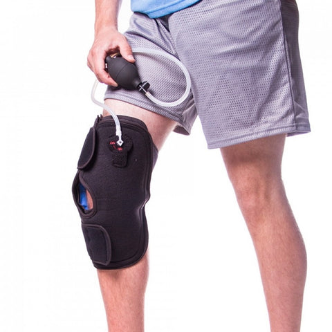 Inflatable cold therapy knee wrap for pcl injuries
