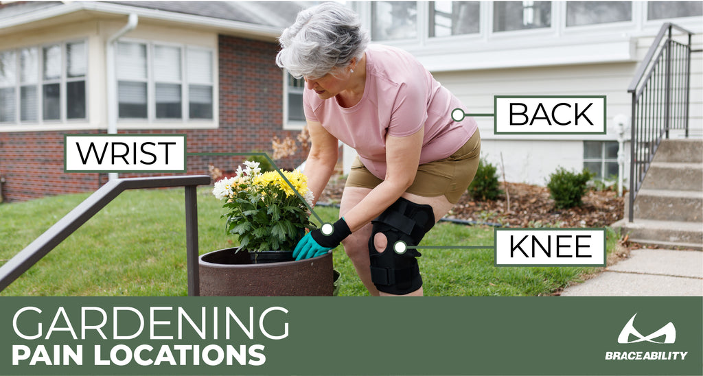 Your back, knees, and wrists are the most common injuries when working in the garden