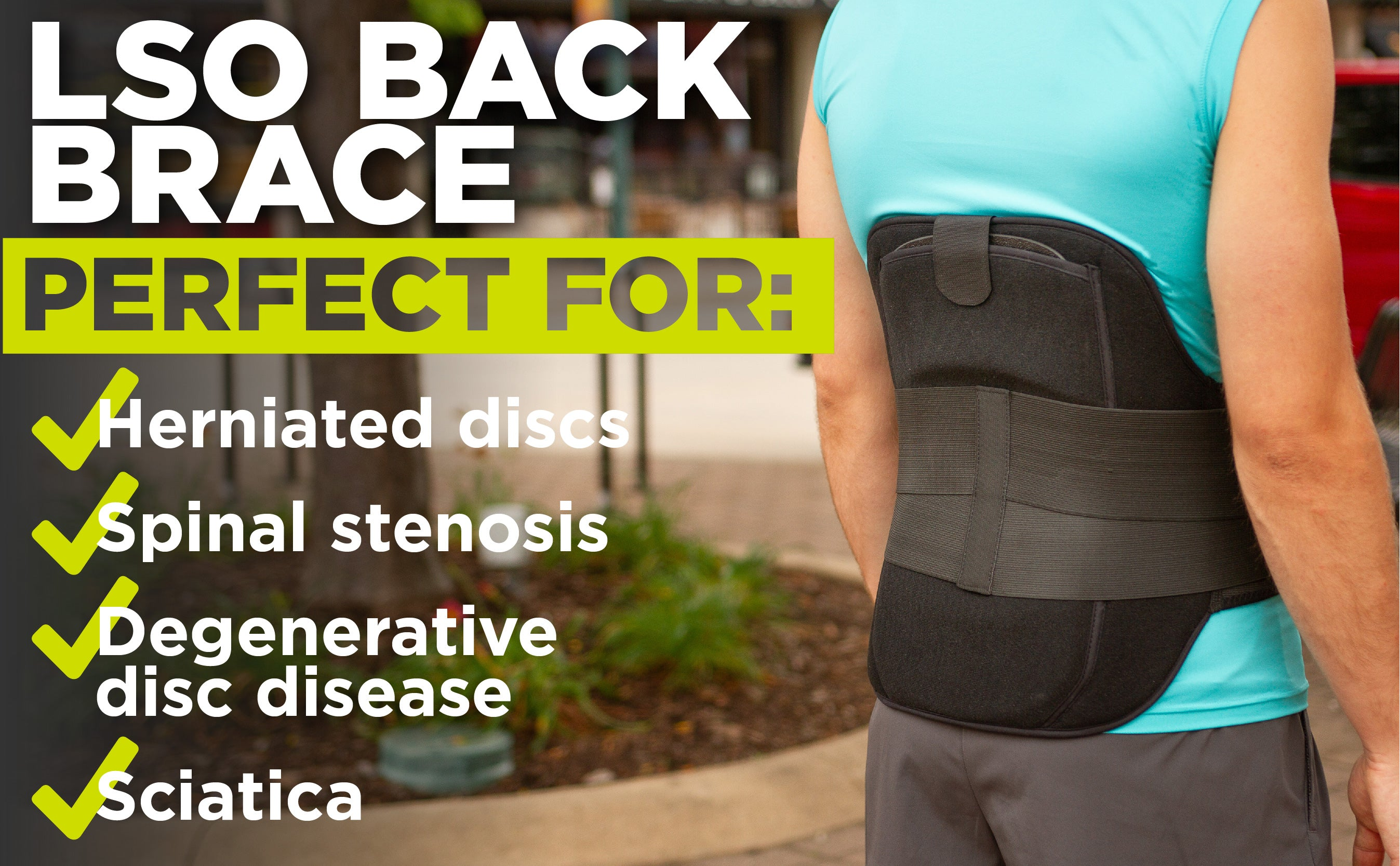 the braceability lso back brace is perfect for herniated discs, spinal stenosis, and sciatica