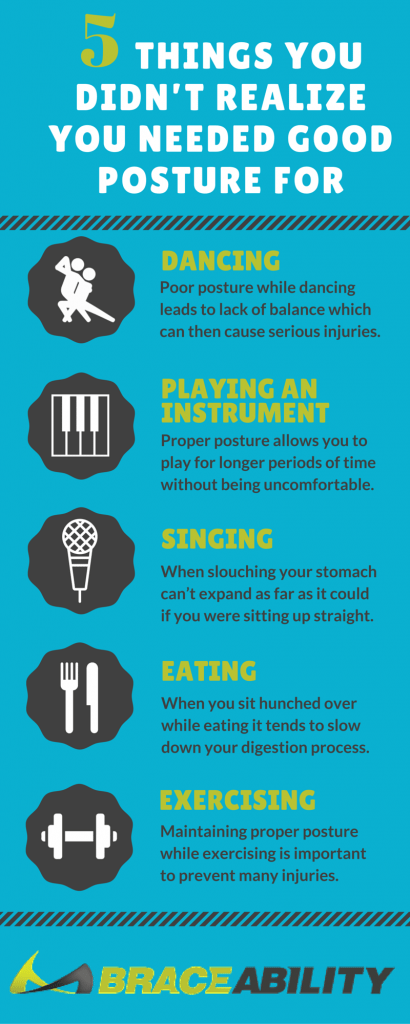 You need to use good posture when to properly sing, dance, eat, exercise and play instruments