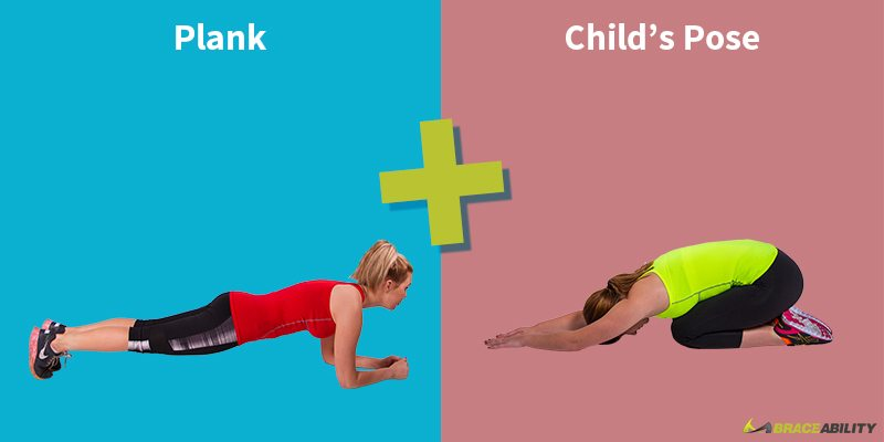 plank and childs pose yoga stretches and exercises to fix bad posture