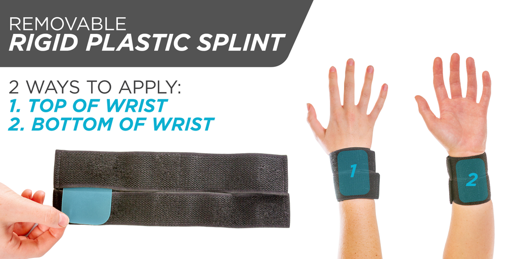 Wrist brace includes removable rigid plastic support splint for gymnastics