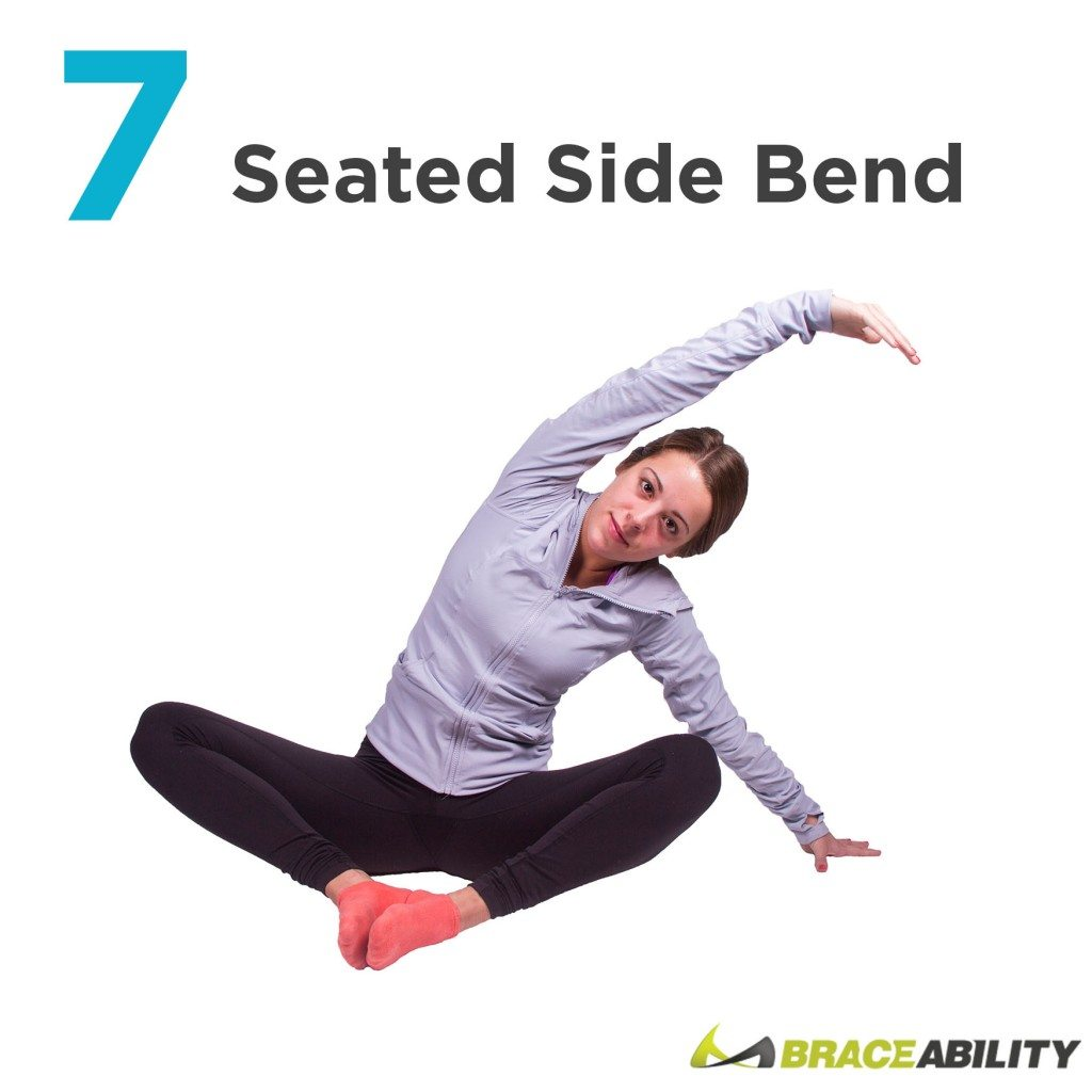side bend while seated to stretch your back and improve your posture