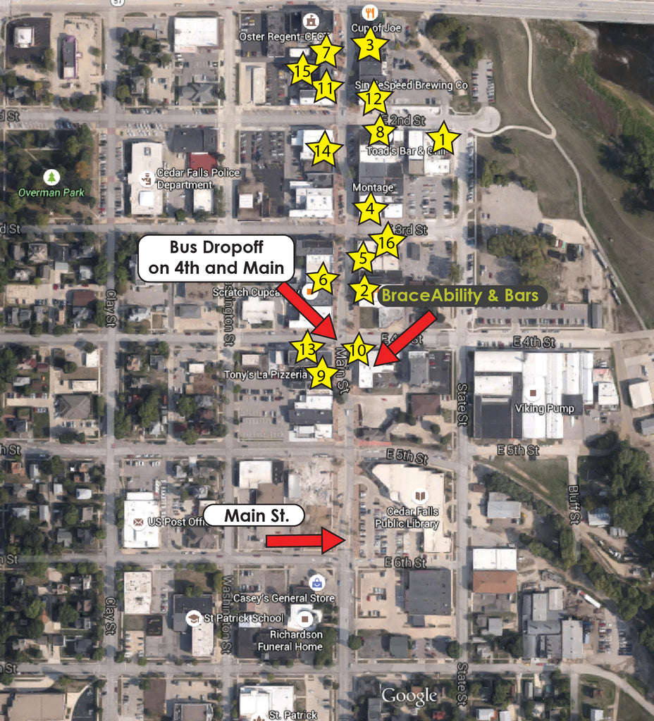 map of where the shuttle drop off is on the main street bars and restaurants during Ragbrai