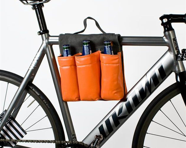 six pack bottle holder for beer or water on a bicycle