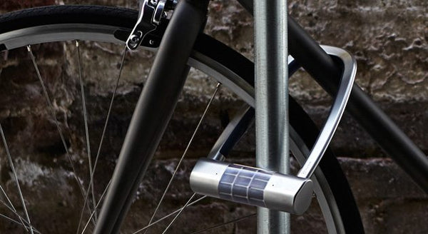 solar powered, bluetooth, u shaped safety lock for bicycles