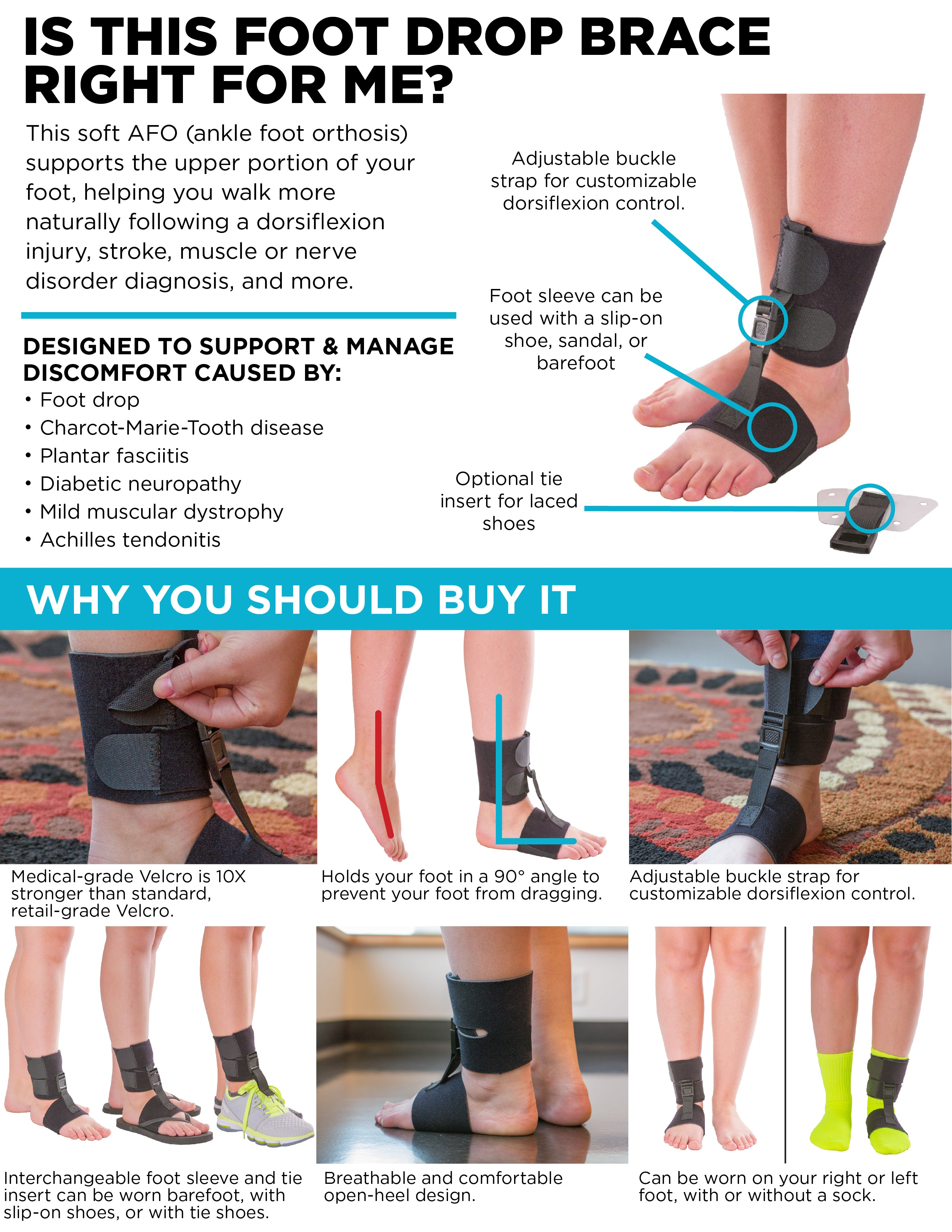 Key features and benefits of this soft dorsiflexion assist support for drop foot.