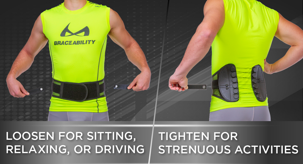 loosen straps on the sports back brace for less support