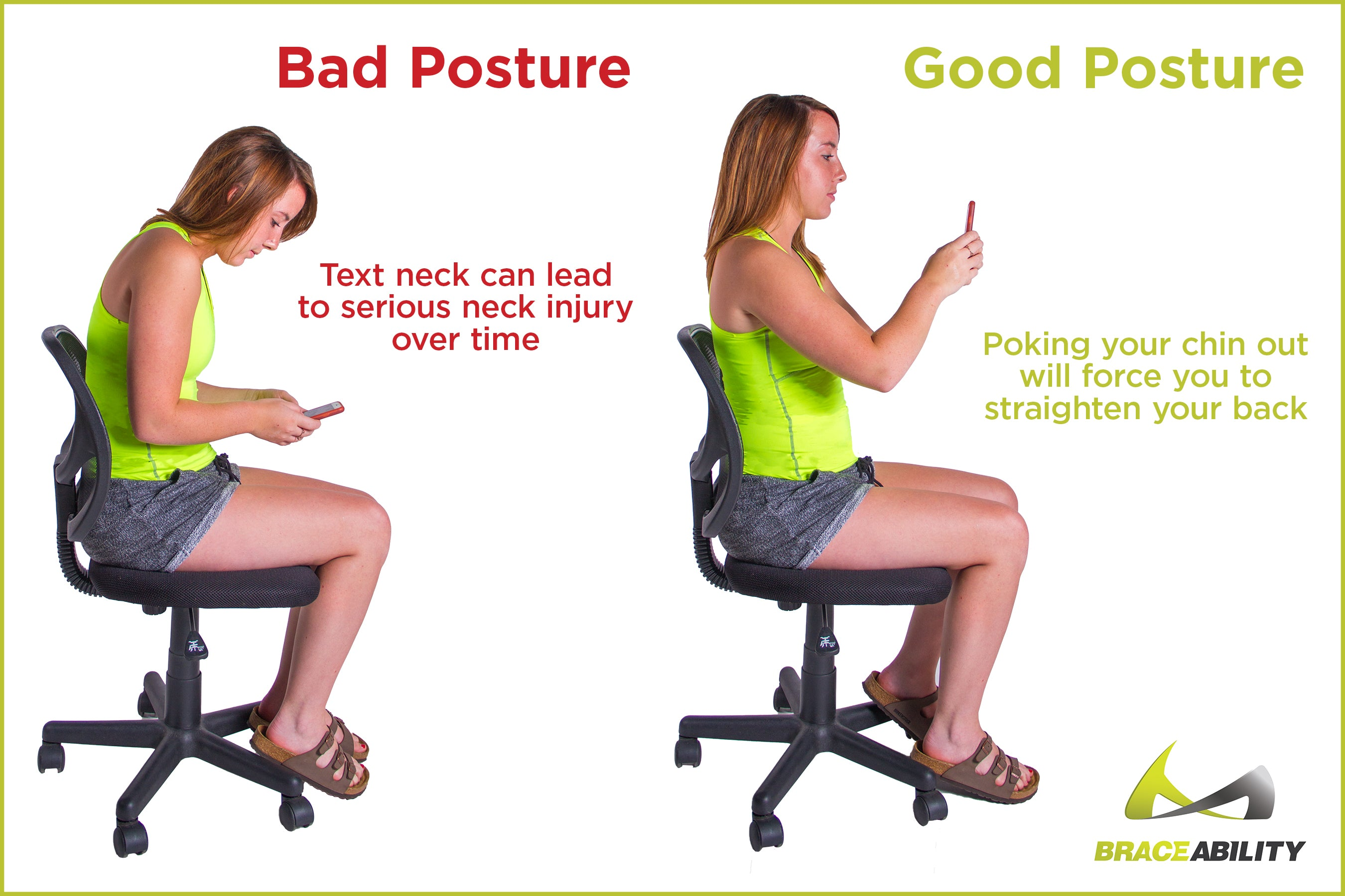 Proper sitting posture so you don't develop text neck