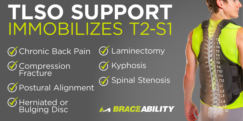 The TLSO thoracic full back brace immobilizes the t2-s1 to help with scoliosis, kyphosis, osteoarthritis, and spinal stenosis