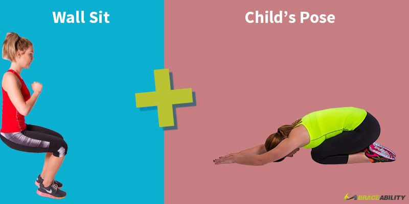 wall sit and childs pose for yoga posture correction