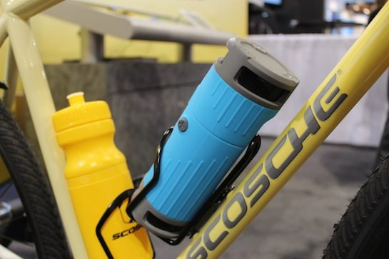 wireless, bluetooth speaker that fits into the water bottle holder of a bike