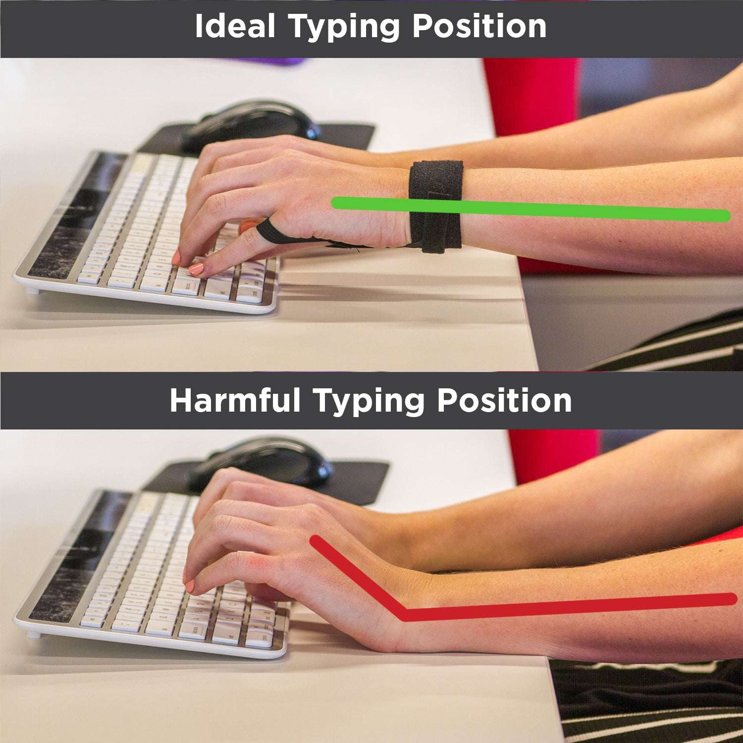 how your wrist should sit while working at a computer to prevent carpal tunnel