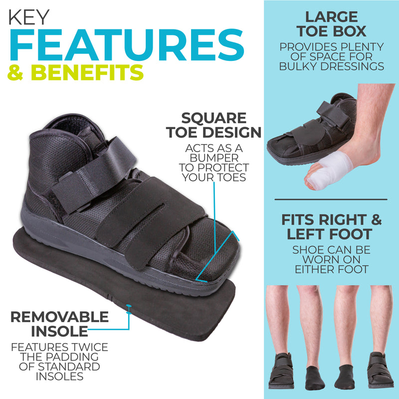 the square toe medical walking shoe protects bandaging or casts
