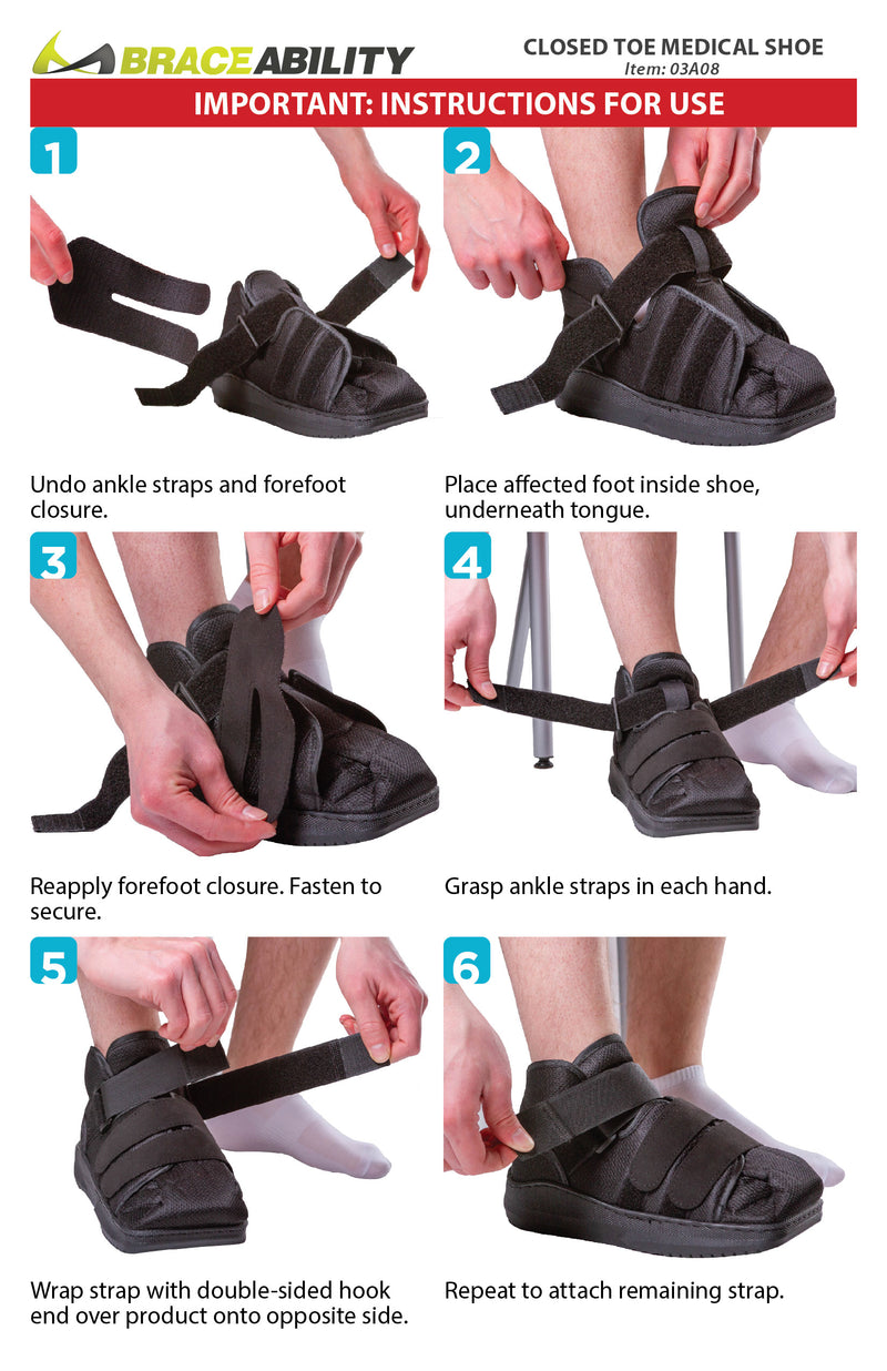 How to put on the closed toe medical shoe instruction sheet